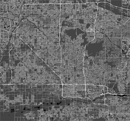 mappa della città di Phoenix, Arizona, USA Vettoriali