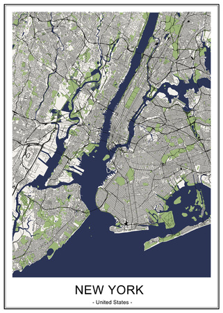 vector map of the New York City NY, USA Vectores