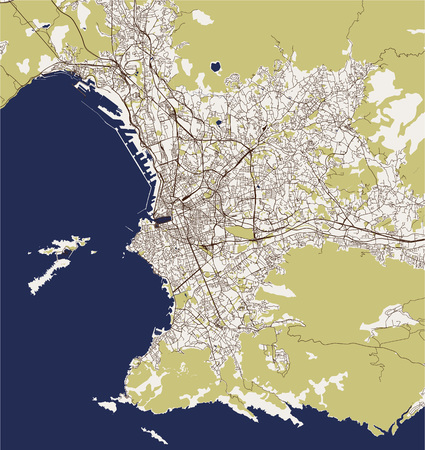 vector map of the city of Marseille, France