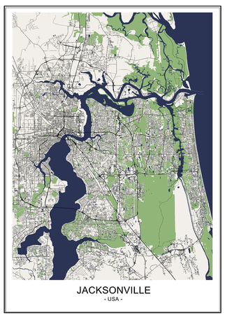vector map of the city of Jacksonville, Florida, USA