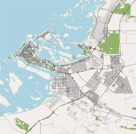 vector map of the city of Abu Dhabi, United Arab Emirates (UAE), Emirate of Abu Dhabi