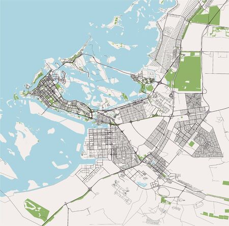 vector map of the city of Abu Dhabi, United Arab Emirates (UAE), Emirate of Abu Dhabi