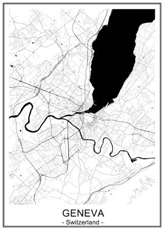 mapa de la ciudad de Ginebra, Suiza Ilustración de vector