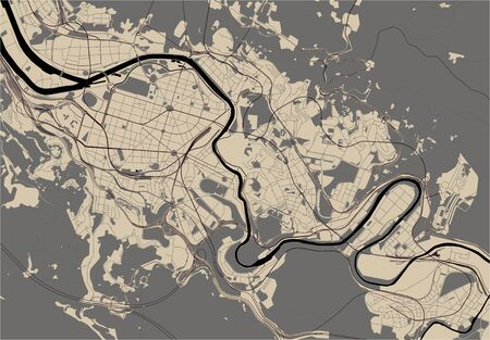 vector map of the city of Bilbao, Basque Country, Spain