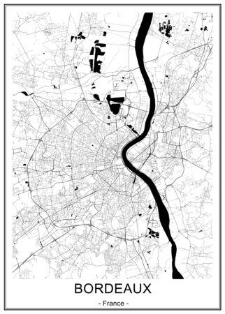 mappa della città di Bordeaux, Francia