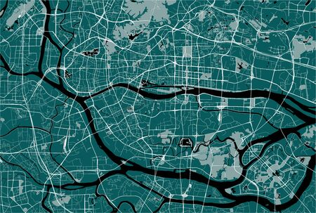 vector map of the city of Guangzhou, Canton, Kwangchow, People's Republic of China