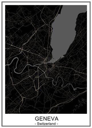 map of the city of Geneva, Switzerland