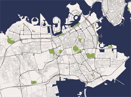 carte vectorielle de la ville de Manama, Royaume de Bahreïn