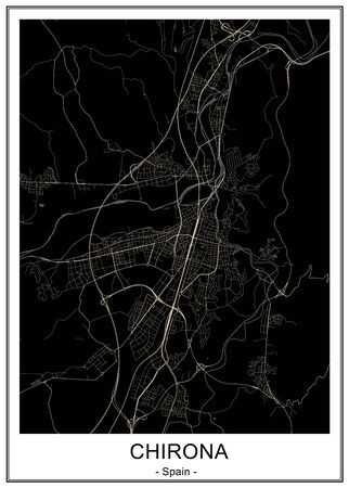 vector map of the city of Girona, Spain, Catalonia