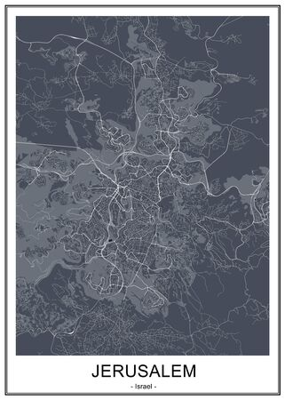 vector map of the city of Jerusalem, Israel, Asia