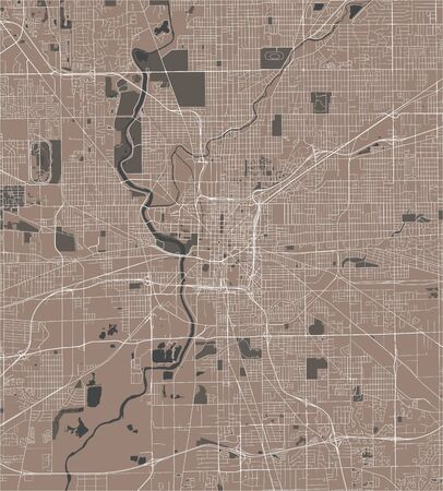 vector map of the city of Indianapolis, Indiana, USA
