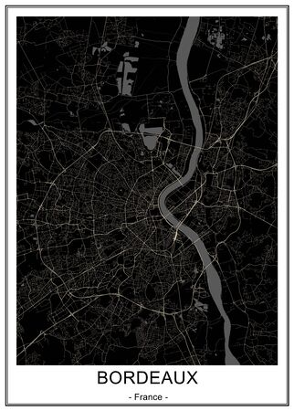 map of the city of Bordeaux, France