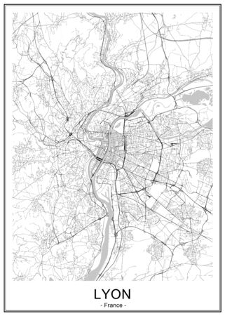 map of the city of Lyon, France