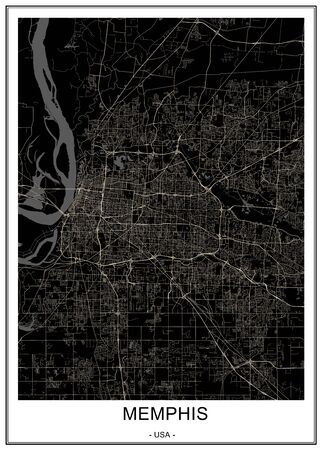 vector map of the city of Memphis , Mississippi, USA