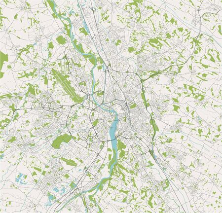 vector map of the city of Toulouse, France Standard-Bild - 128708913