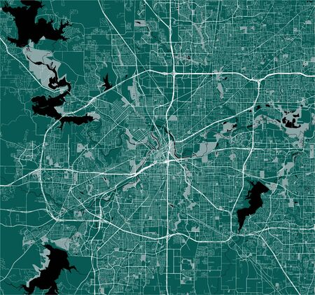 map of the city of Fort Worth, Texas, USA Vettoriali