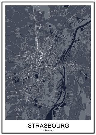 map of the city of Strasbourg, France