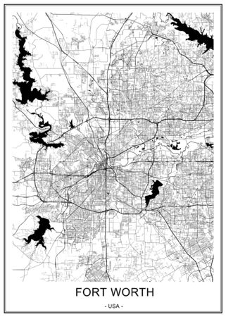 vector map of the city of Fort Worth, Texas, USA Standard-Bild - 128720945