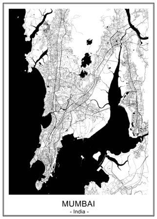 map of the city of Mumbai, Indian state of Maharashtra Vetores