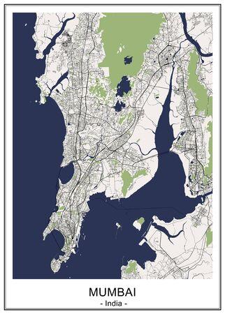 map of the city of Mumbai, Indian state of Maharashtra