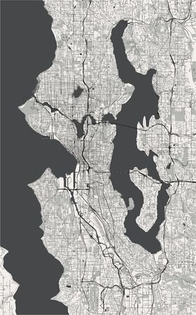 map of the city of Seattle, Washington, USA