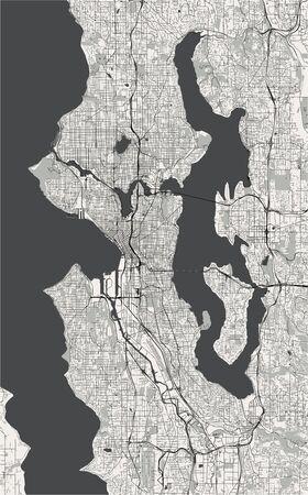 map of the city of Seattle, Washington, USA
