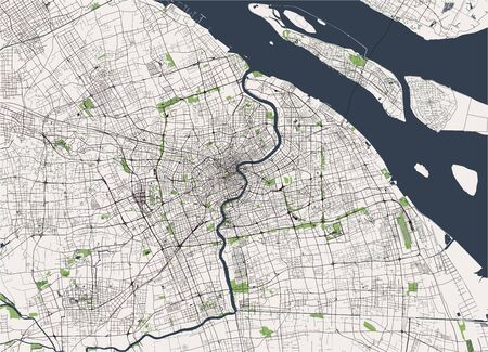 map of the city of Shanghai, China 向量圖像