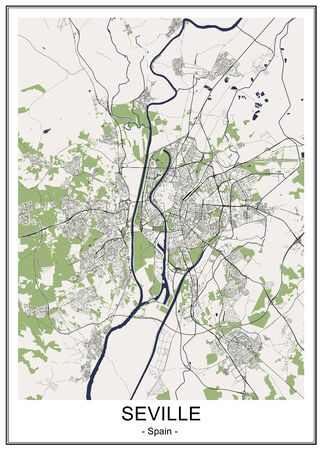 map of the city of Sevilla, Spain