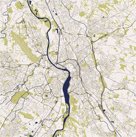 vector map of the city of Toulouse, Occitanie, Haute-Garonne, France