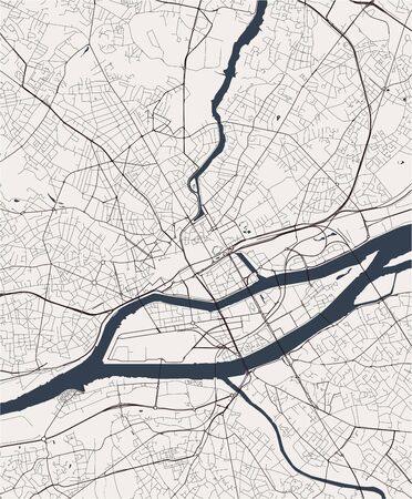 map of the city of Nantes, France