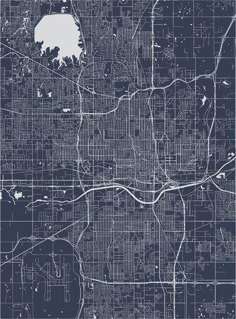map of the city of Oklahoma, Oklahoma City, USA