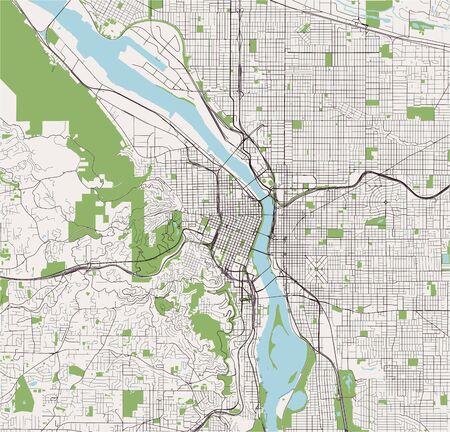 vector map of the city of Portland, Oregon, USA