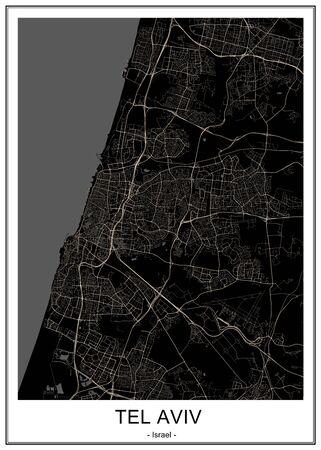 vector map of the city of Tel Aviv, Yafo, Jaffa, Israel