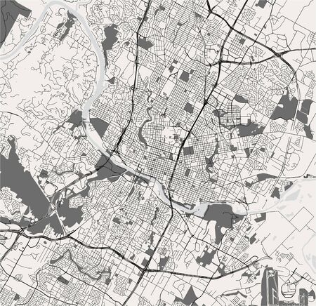 vector map of the city of Austin, Texas, USA