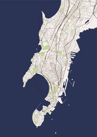 Karte der Stadt Mumbai, indischer Bundesstaat Maharashtra