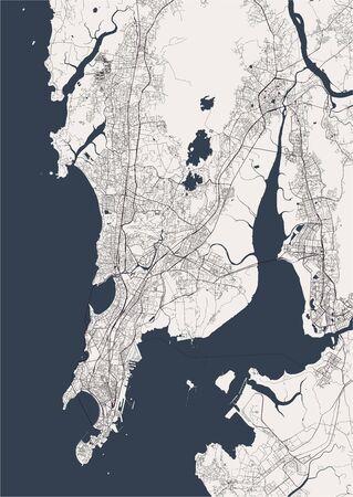 vector map of the city of Mumbai, Indian state of Maharashtra Illustration