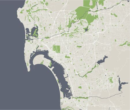 vector map of the city of San Diego, California, USA