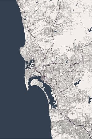 vector map of the city of San Diego, California, USA Stock fotó - 129984310