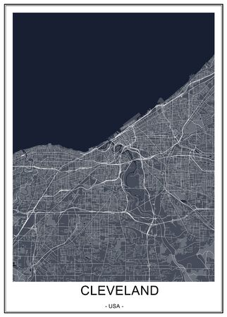 vector map of the city of Cleveland, Ohio, USA Ilustrace