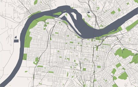 vector map of the city of Louisville, Kentucky, USA Ilustrace