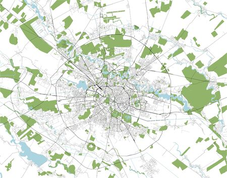 vector map of the city of Bucharest, Romania
