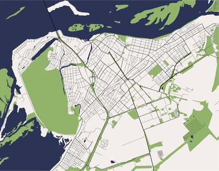 vector map of the city of Engels, Saratov region, Russia
