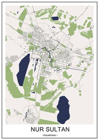 vector map of the city of Nur-Sultan, Kazakhstan Ilustrace