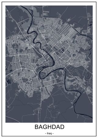 vector map of the city of Baghdad, Iraq