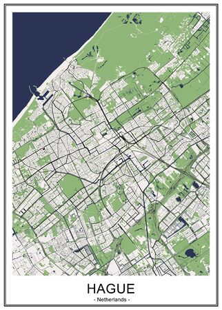vector map of the city of the Hague, Den Haag, Netherlands