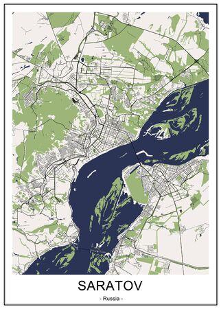 Vektorkarte der Stadt Saratow, Russland