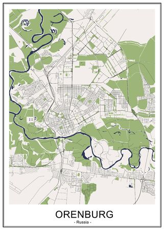 vector map of the city of Orenburg, Russia Ilustrace