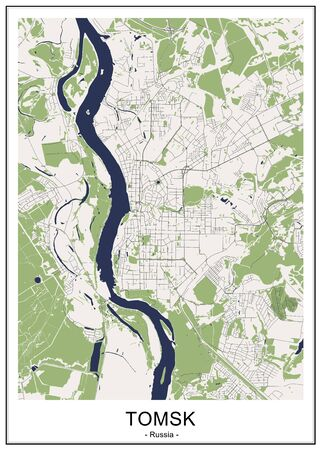 vector map of the city of Tomsk, Russia