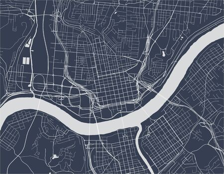 vector map of the city of Cincinnati,State Ohio, USA, , and is the government seat of Hamilton County. Ilustrace