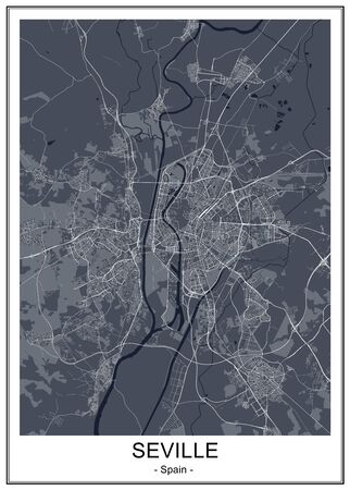 vector map of the city of Sevilla, Spain